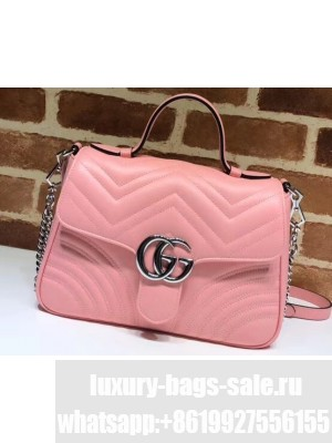 Gucci Leather GG Marmont Small Top Handle Bag 498110 Pastel Pink 2020