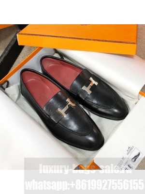Hermes Paris Lambskin Flat Loafers Black/Red 2020 Collection