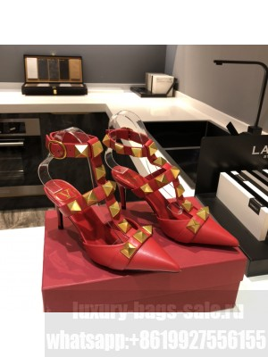 Valentino Garavani Roman Stud 80mm pump with straps embellished with maxi studs Red 2021 Collection