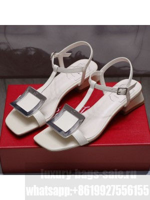 Roger Vivier Calfskin Square Buckle Sandals White/Silver Spring/Summer 2021 Collection