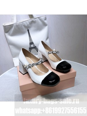 MIU MIU LEATHER PUMPS Strap with chain and button 65 mm heel White/Black