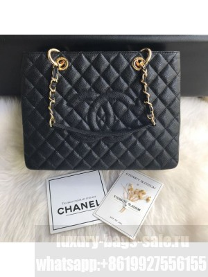 Chanel Grained Calfskin Grand Shopping Tote GST Bag Black/Gold Collection