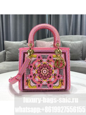 Dior Lady Dior Medium Bag in Pink In Lights Embroidery  2021 Collection