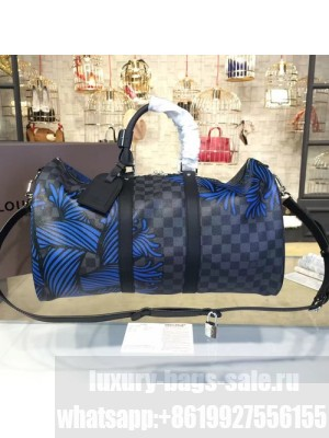 Louis Vuitton Keepall Bandouliere 45 Damier Graphite Canvas Leather Cruise 2016 Collection N41701, Blue