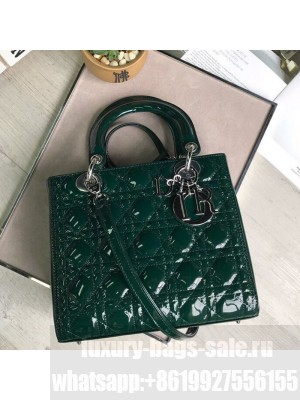 Dior My Lady Dior Medium Bag in Patent Cannage Calfskin Green/Silver 2019 Collection