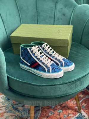 Gucci Unisex Tennis 1977 GG Multicolor high-top Blue Sneaker 2021 Collection