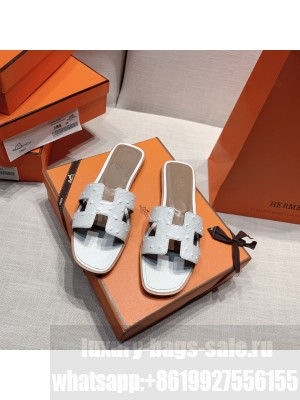 Hermes Oran Flat slippers with Ostrich Leather 081 2021 Collection