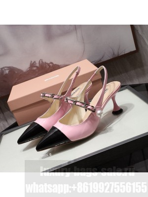 MIU MIU LEATHER POINTED Slingback Strap with chain and button 55 mm heel Pink/Black