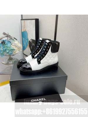 Chanel Women's Combat Boots White 2021 Collection