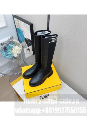 FENDI ROCKOKO Black leather high boots with stretch fabric 08 2021 Collection