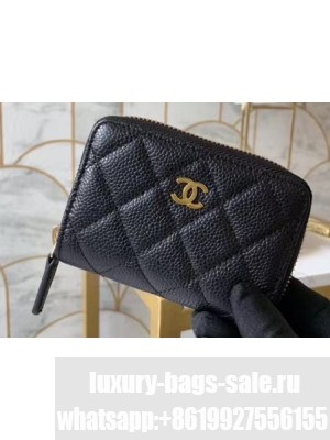 Chanel Classic Small Zipped Coin Purse 69272 Grained Calfskin Black/Gold