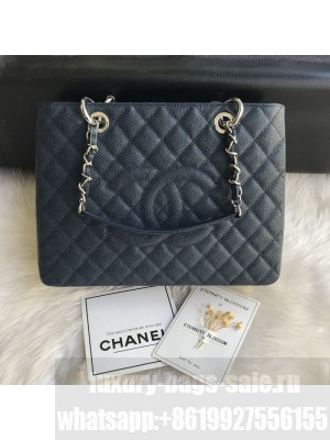 Chanel Grained Calfskin Grand Shopping Tote GST Bag Navy Blue/Silver Collection