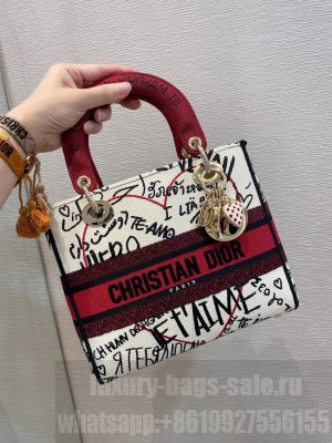 Christian Dior DiorAmour Lady Dior Bag 24cm with Bag Strap Lambskin Leather Spring/Summer 2020 Collection, White/Red