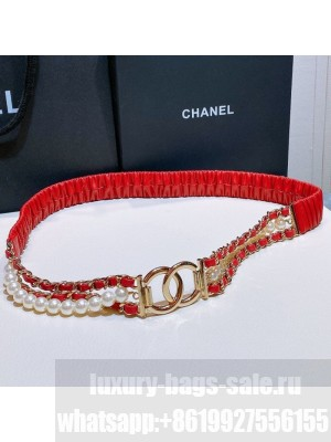 Chanel Pearl Lambskin Pleated Chain Belt AA7481 Red  2021 Collection
