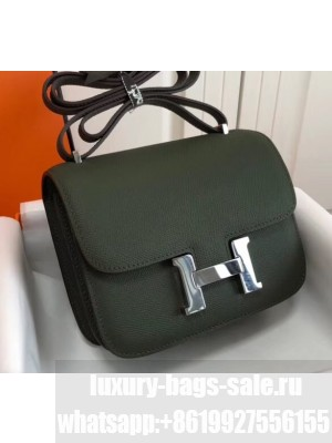 Hermes Constance Mini/MM Bag in Epsom Leather Dark Green with Silver Hardware