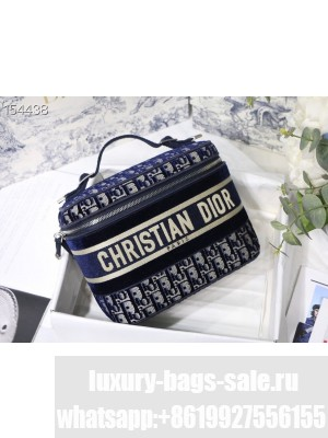 Christian Dior Vanity Case Bag 24cm Velvet Oblique Embroidered Canvas Silver Hardware Fall/Winter 2020 Collection, Blue