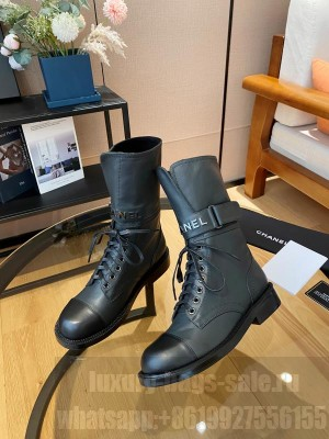 Chanel Calfskin Lace-up Boot Black 2021 Collection