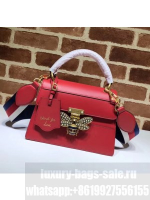 Gucci Queen Margaret GG Small Leather Top Handle Bag 476541 Red Collection