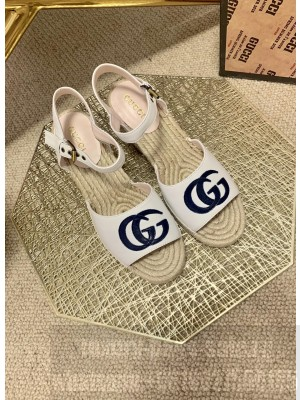 Gucci GG Wedge Sandals 10cm White 2021 Collection