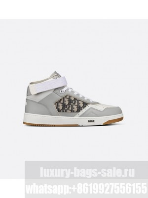 Christian Dior  B27 High-Top Sneaker Gray and White Smooth Calfskin with Beige and Black Dior Oblique Jacquard