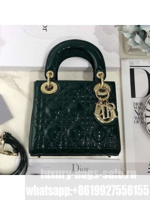 Dior Classic Lady Dior Mini Bag in Patent Leather Green/Gold Collection