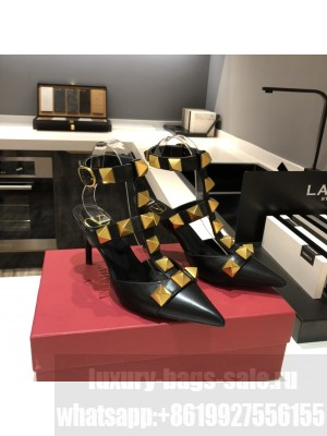 Valentino Garavani Roman Stud 80mm pump with straps embellished with maxi studs Black 2021 Collection