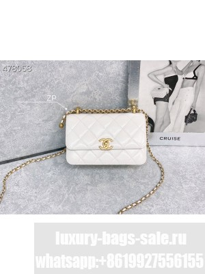 Chanel Handle Flap Bag 20CM AS2615 Calfskin Leather Gold Hardware Spring/Summer 2021 Collection, White