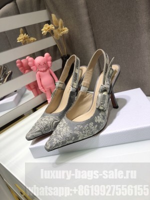 Dior J'Adior Slingback Pumps 9.5cm in Grey Toile de Jouy Reverse Embroidered Cotton 2021 Collection