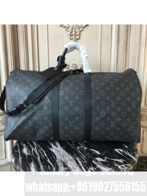 Louis Vuitton Keepall 55 Bandouliere Duffle Bag Monogram Eclipse Canvas Fall/Winter 2017 Collection M40605