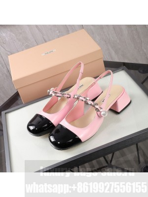 MIU MIU LEATHER Slingback Strap with chain and button 40 mm heel Pink/Black