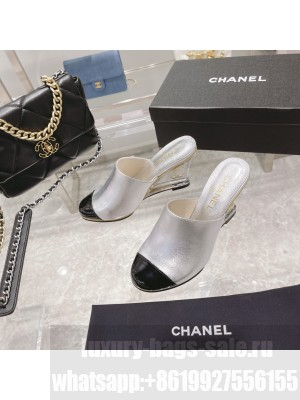 Chanel Women's Crystal heel Wedge Mule Silver 2021 Collection