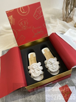 Christian Louboutin Woven Calfskin White Flat slippers 2021 Collection