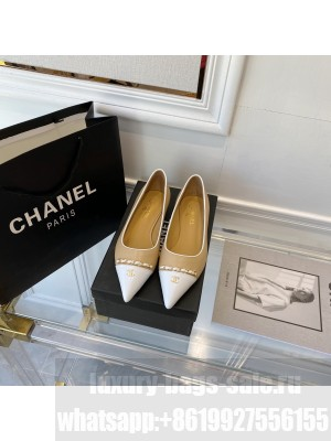 Chanel sheepskin Chain Pointed Flat Beige & White 2021 Collection