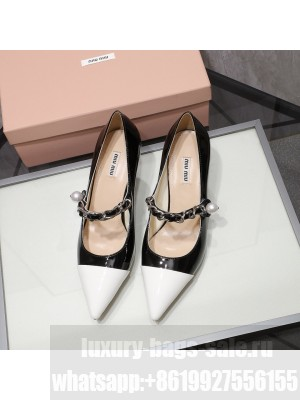 MIU MIU LEATHER POINTED PUMPS Strap with chain and button 55 mm heel Black/White