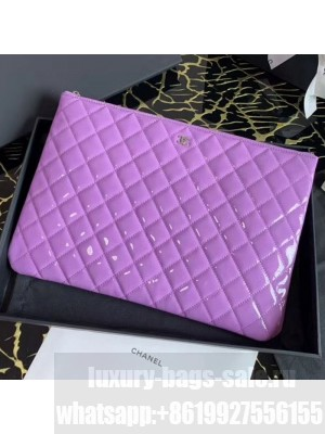 Chanel Quilted Patent Leather Large Pouch Purple 2020 Collection