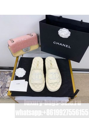 Chanel Quilted Slide On Mule Sandals Lambskin Leather Spring/Summer 2021 Collection,  White
