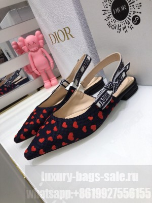 Dior J'Adior Slingback Ballerina Flat in Navy Blue and Red Hearts I Love Paris Embroidered Cotton 2021 Collection