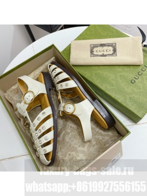GUCCI Crystal Stud Flat Sandals White 2021 Collection