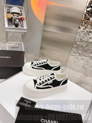 Chanel Canvas Platform Sneakers Black 2021 Collection
