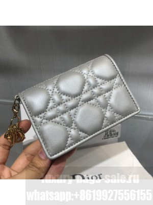 Dior Lady Cannage Lambskin Card Holder Wallet Silver Grey 2019 Collection