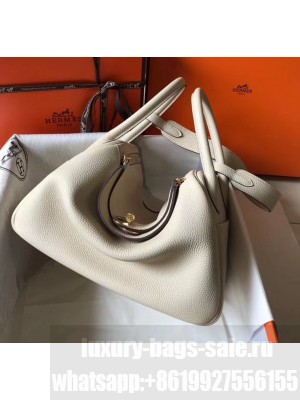 Hermes Lindy 30cm Bag In Togo Calfskin Leather Off-white 2020 Collection