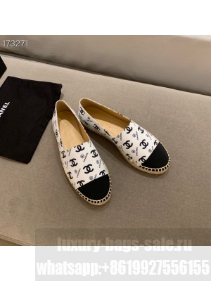 Chanel CC Logo Espadrilles Lambskin Leather Spring/Summer 2021 Collection, White/Black