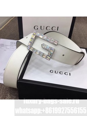 Gucci Width 3.5cm Leather Belt with Crystal Square G Buckle White 2020 Collection