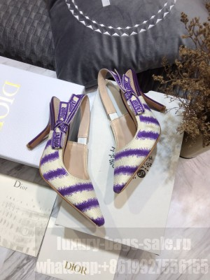 Dior J'Adior Slingback Pumps 9.5cm in Purple D-Stripes Embroidery 2021 Collection