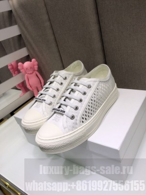 DIOR Unisex WALK'N'DIOR SNEAKER Hollow White Embroidered Cotton  2021 Collection