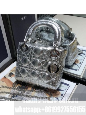 Dior Lady Dior Mini Bag in Silver Textured Metallic Leather  2021 Collection