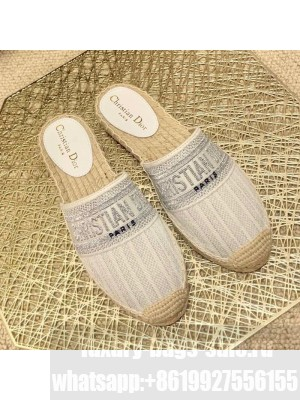 Dior Granville Espadrille Mules in Metallic Thread Embroidered Cotton White Spring/Summer 2021 Collection