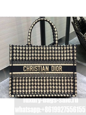 Dior Small Book Tote Bag in Embroidered Canvas Houndstooth Black/White 2020