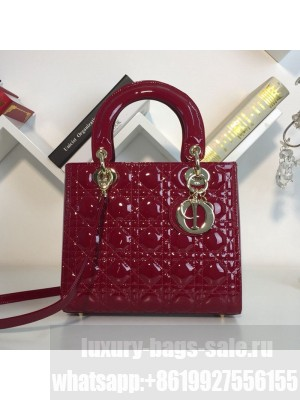 Dior My Lady Dior Medium Bag in Patent Cannage Calfskin Burgundy/Gold 2019 Collection