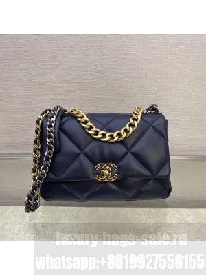 Chanel 19 Goatskin Large Flap Bag AS1161 Navy Blue  2021 Collection TOP